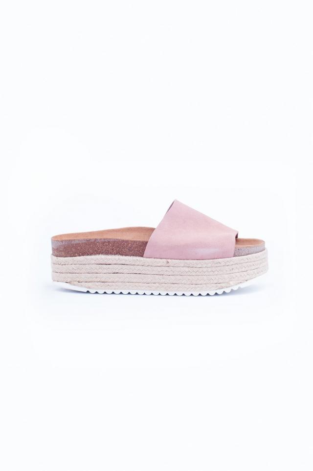 Pink Espadrille Flatform Sandals