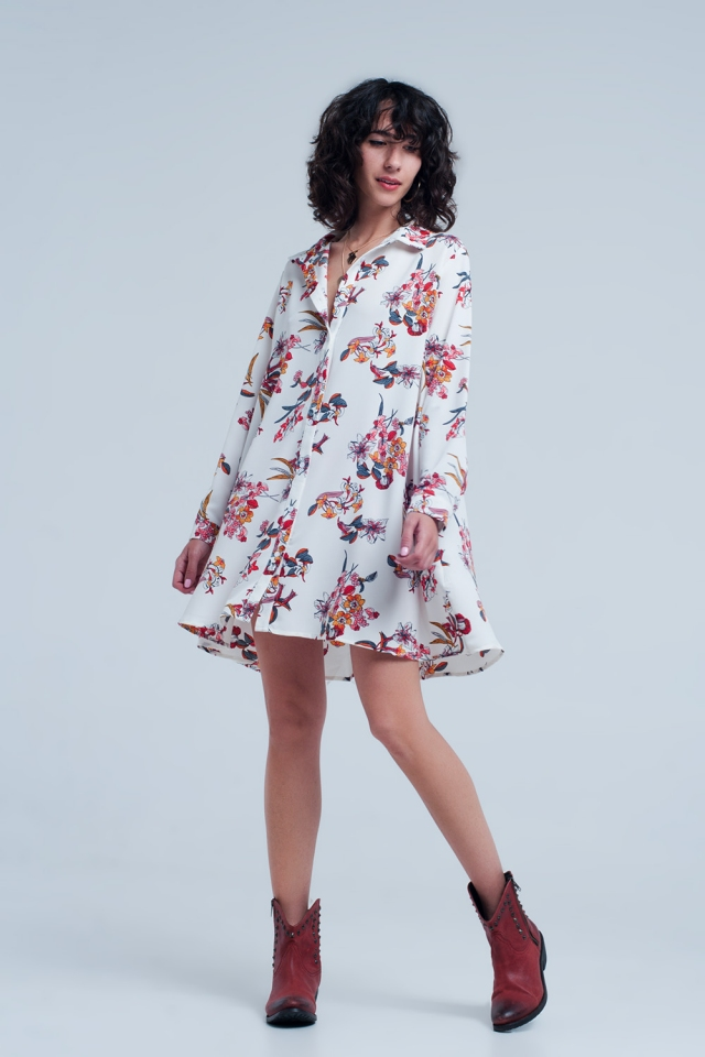 White blouse dress with flower print