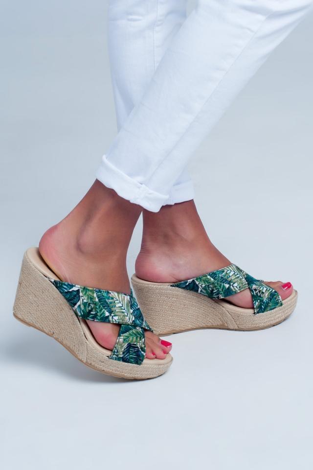 High Cross strap flat sandals in Tropical print