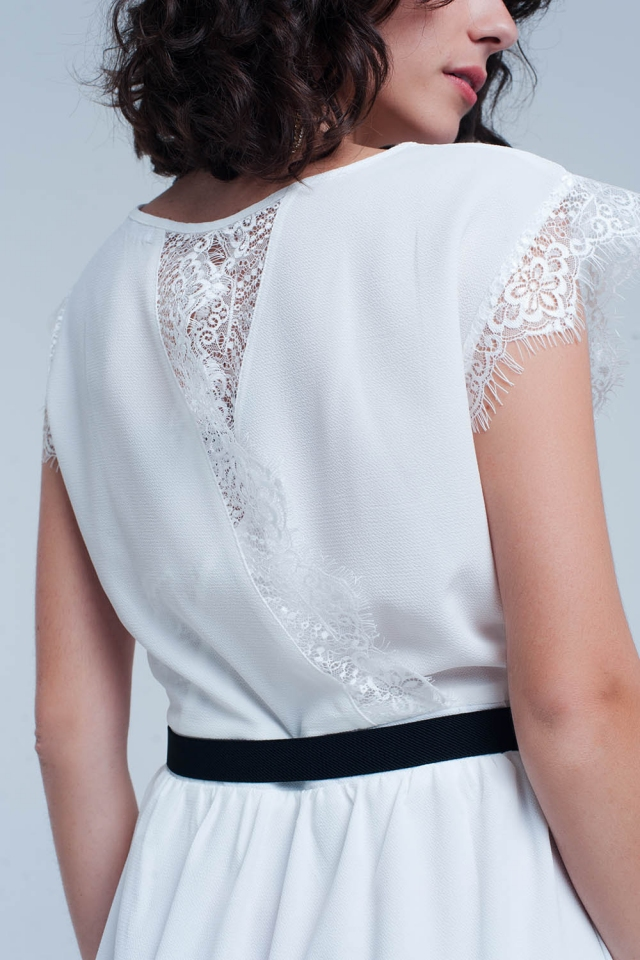 Midi white dress with lace