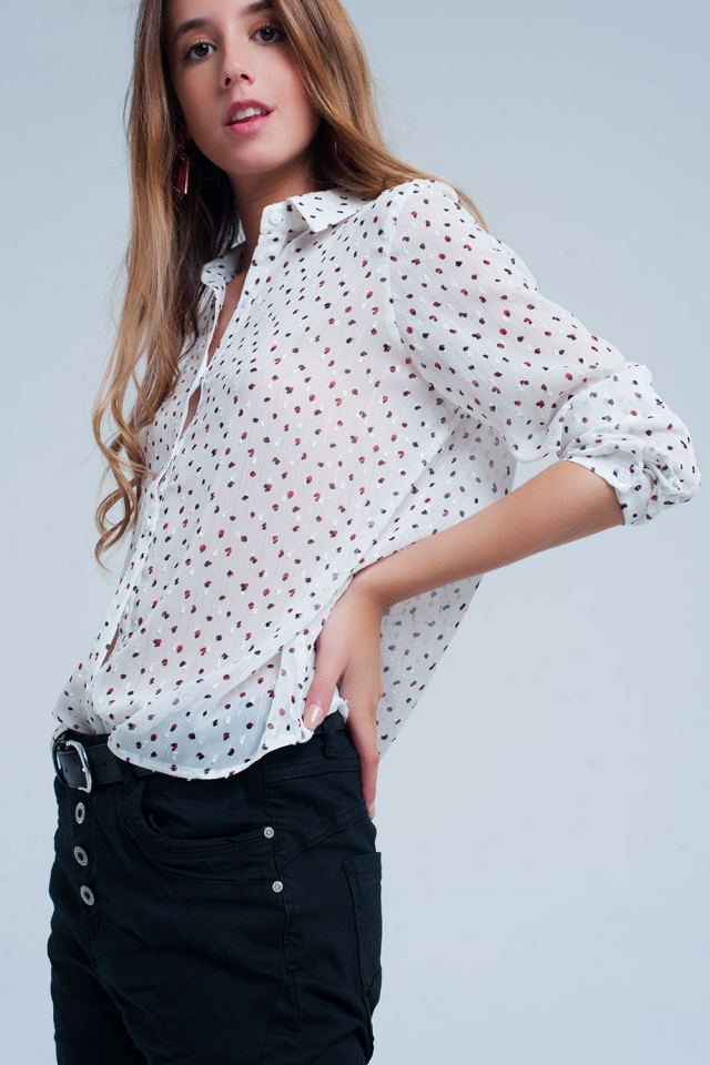 White blouse with black red panther print