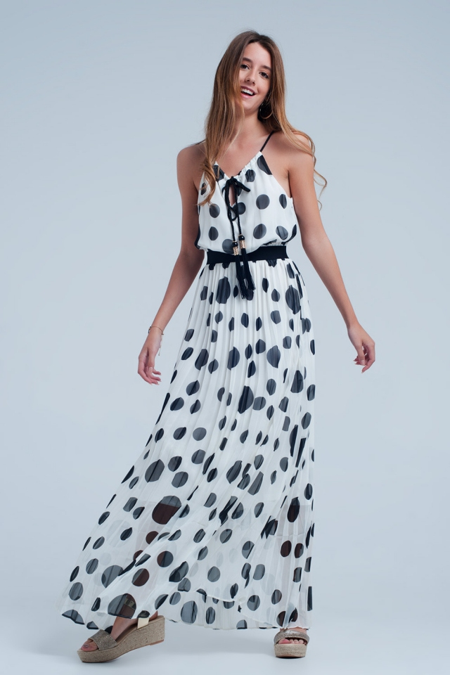 Cream dress with black polka dots