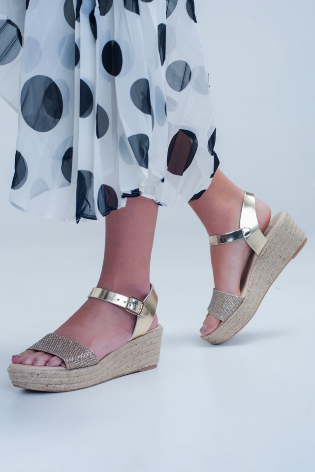 Golden wedges with ankle strap