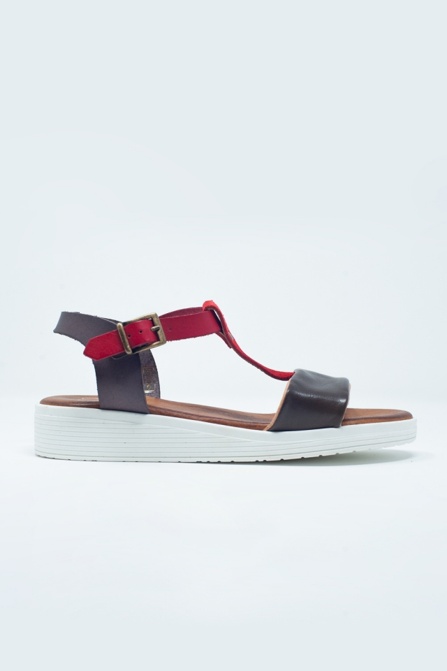 Brown sandals with multiple straps