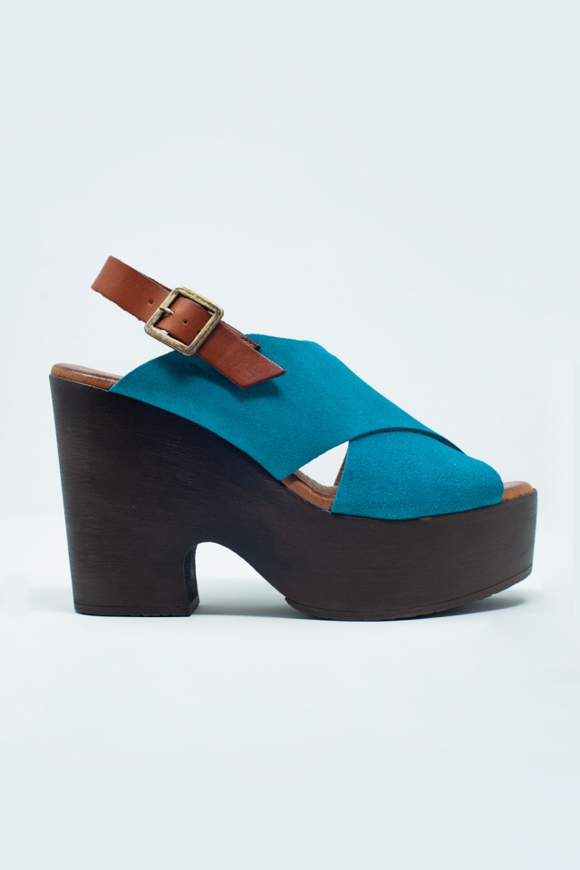 High heel with turquoise crossed straps