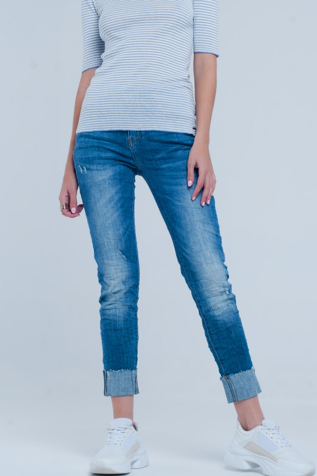 Turn Up Frayed Hem Jeans