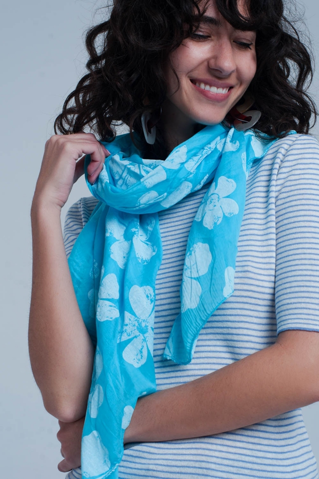 Turquoise scarf with flower print