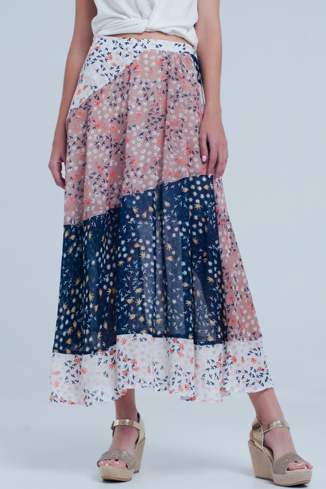 Blue floral meadow bias cut midi skirt