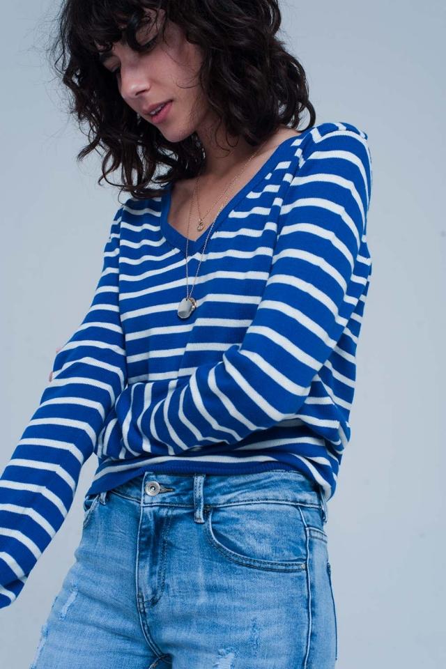 Blue white striped sweater