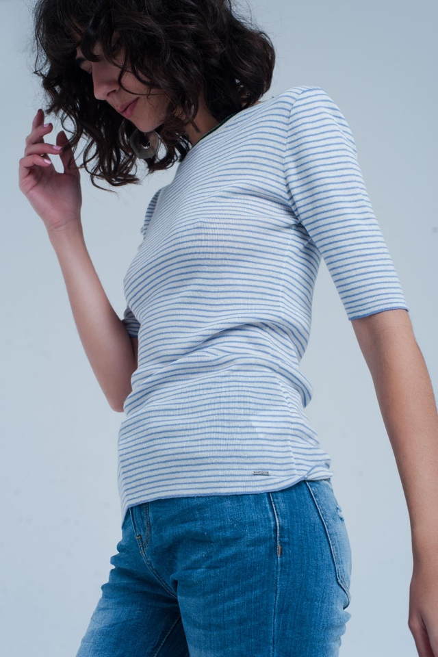 Blue cropped Sleeve Sweater in Breton Stripe