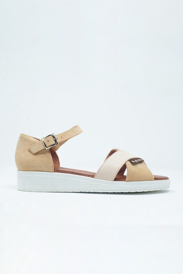 Beige sandals with ankle strap