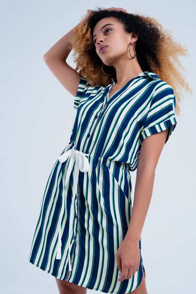 Navy dress with stripes