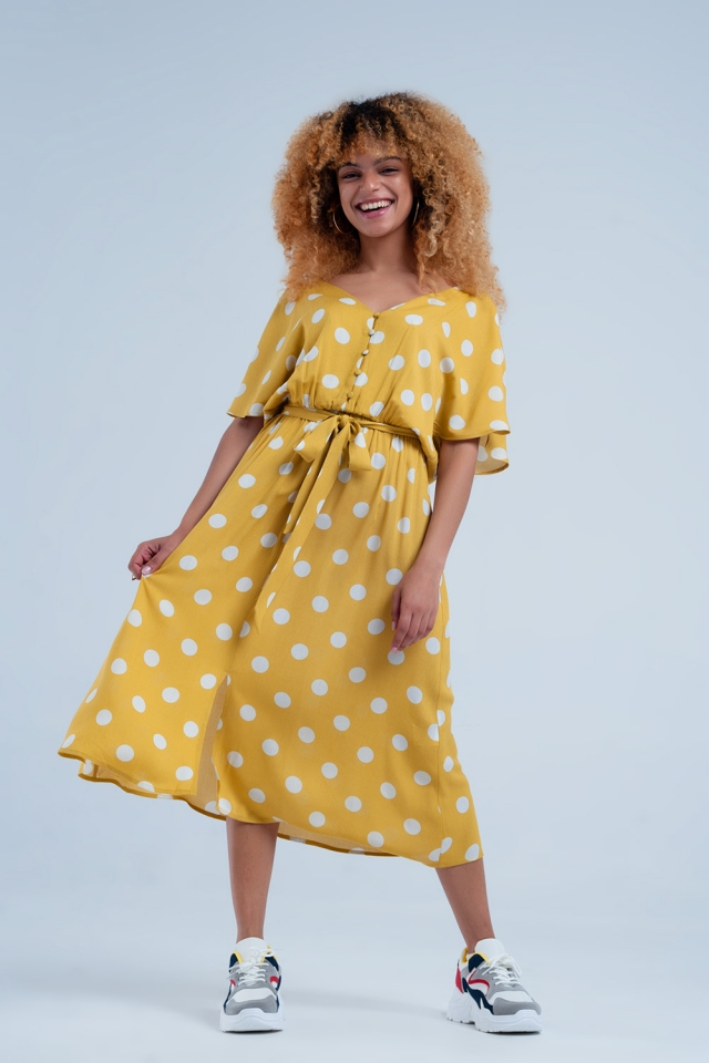 Polka dot dress in mustard