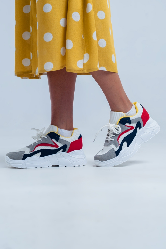White sneakers with platform and multiple colours