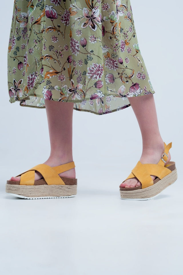 Platform espadrille sandals in ocher