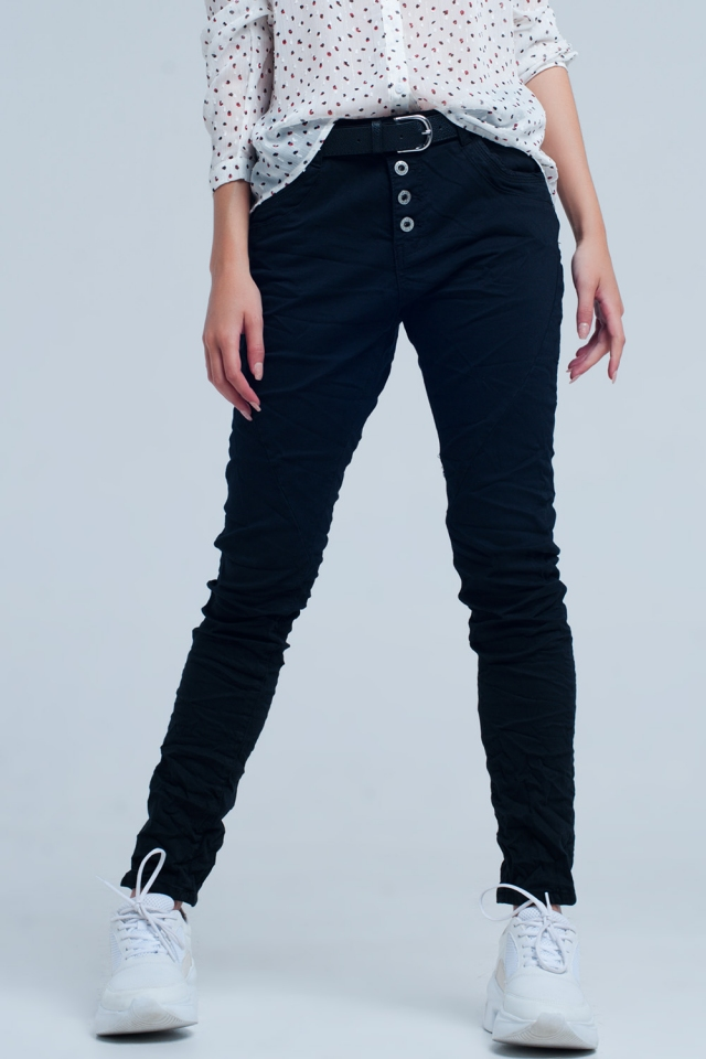 Black low rise boyfriend jeans
