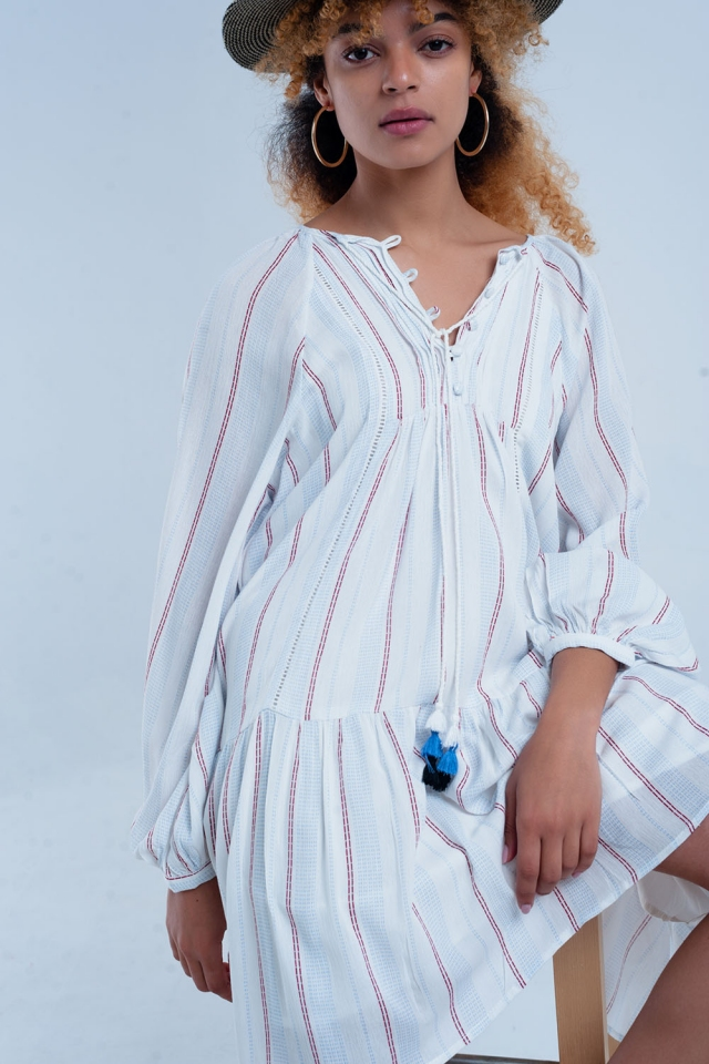 White loose fitting dress with stripes