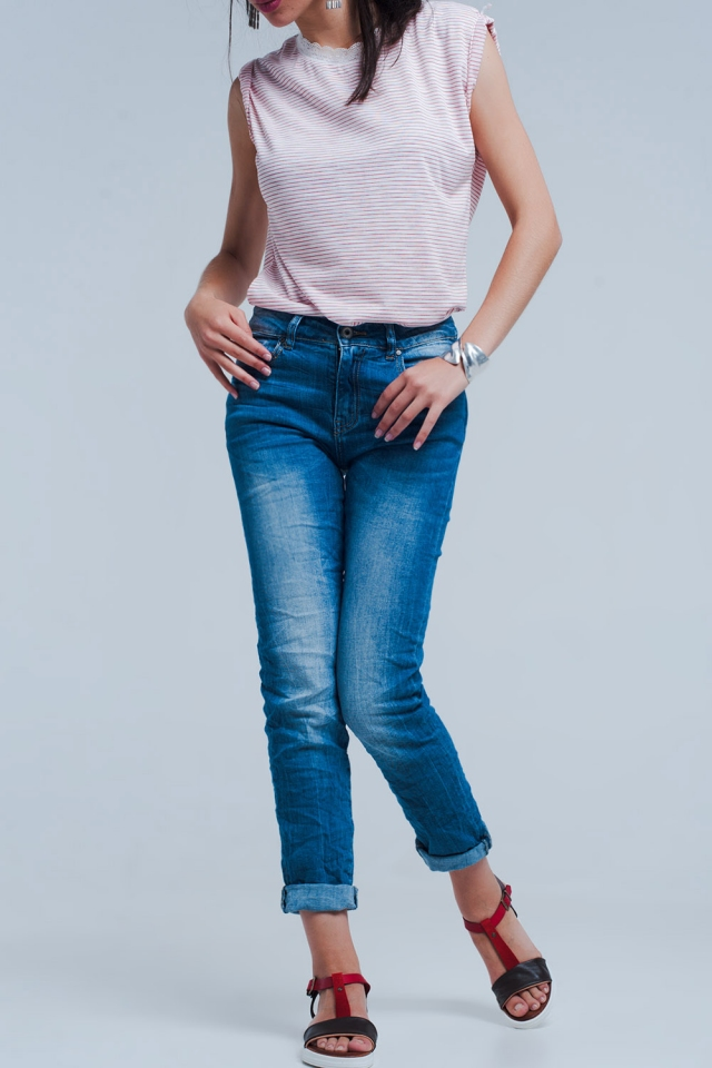 Skinny jeans with crinkle effect
