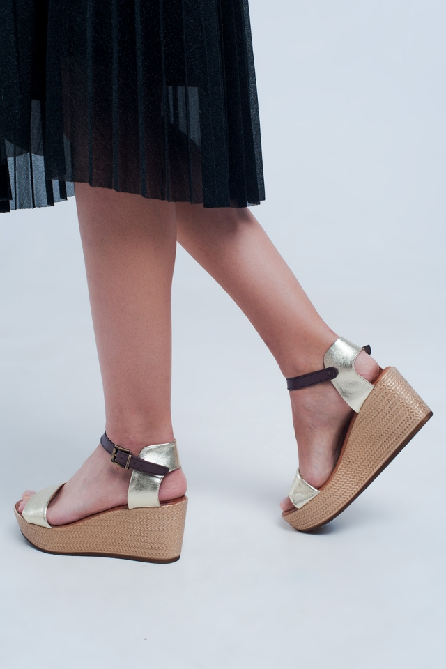 Strappy espadrille wedge sandals in gold
