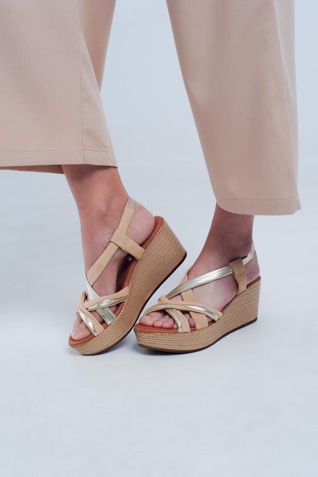 Espadrille platform sandals in beige