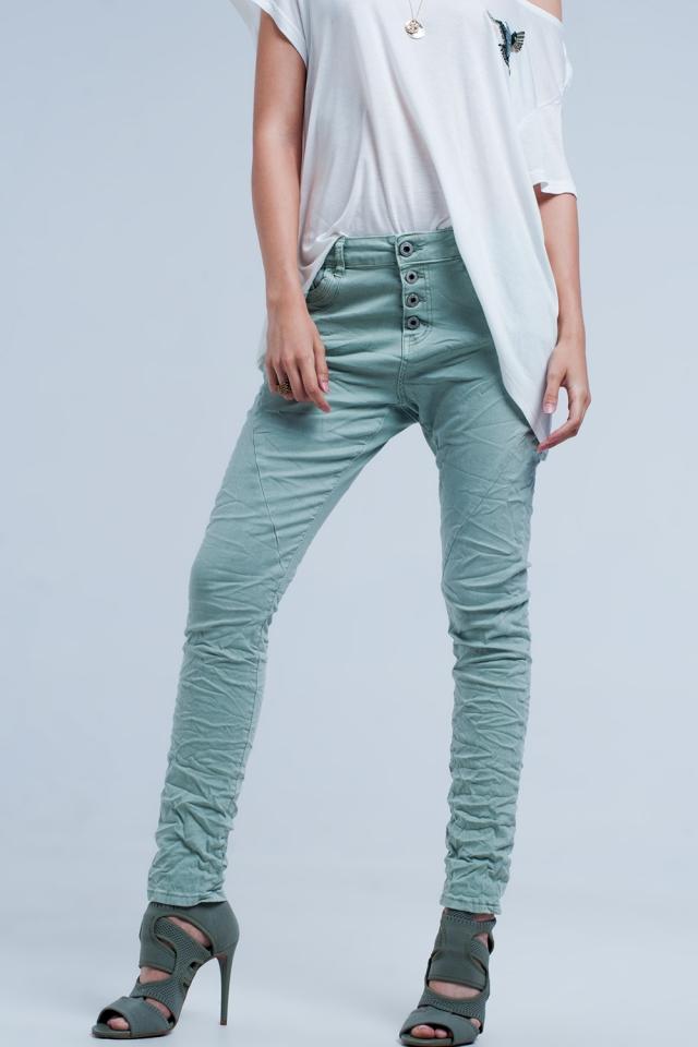 Green low rise boyfriend jeans