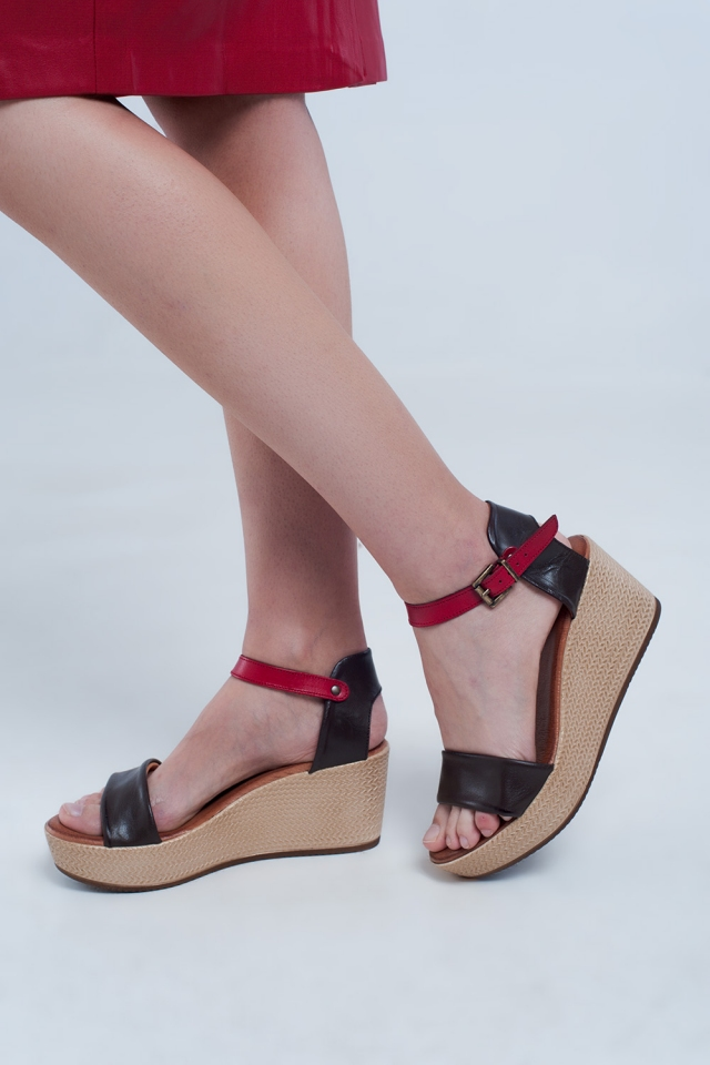 Strappy espadrille wedge sandals in brown