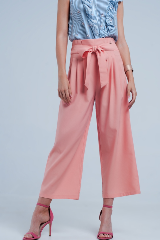 Coral wide leg pants with paperbag detail
