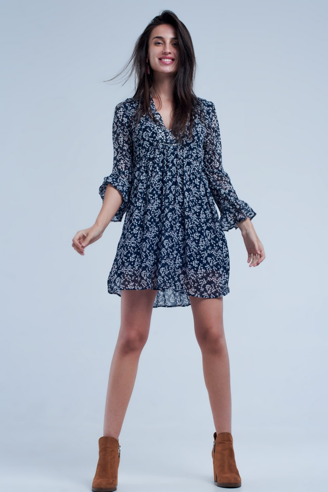 Loose navy dress with flower print