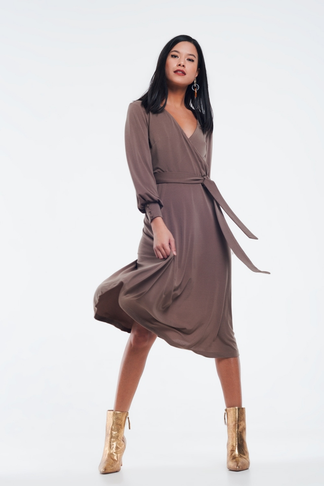 wrap midi dress in beige color