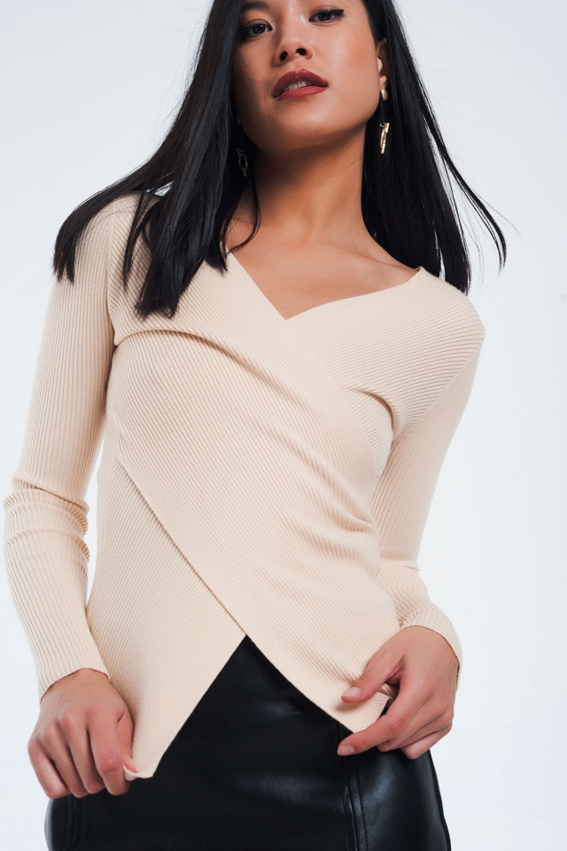 Beige ribbed wrap sweater with v-neck