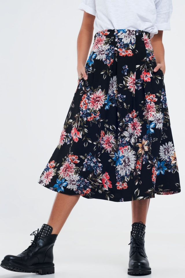 Black floral skirt with box pleats