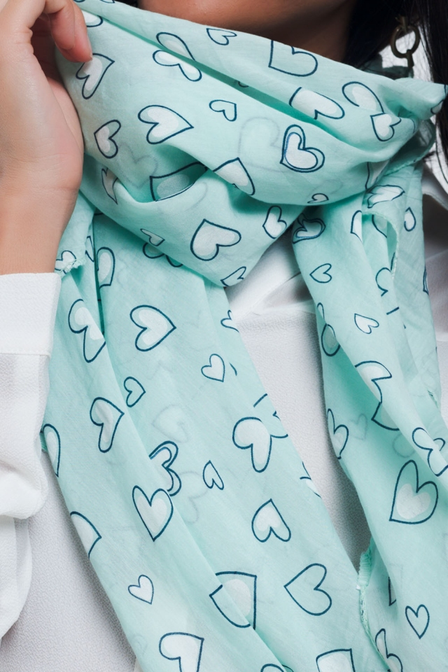 Turquoise scarf with heart print