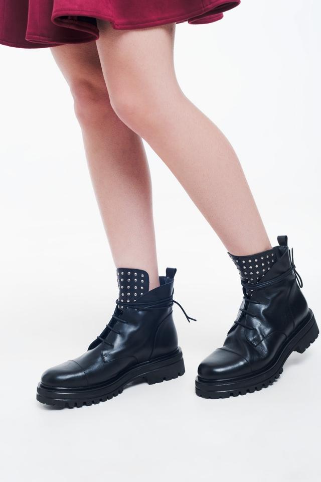 Black studded biker boots