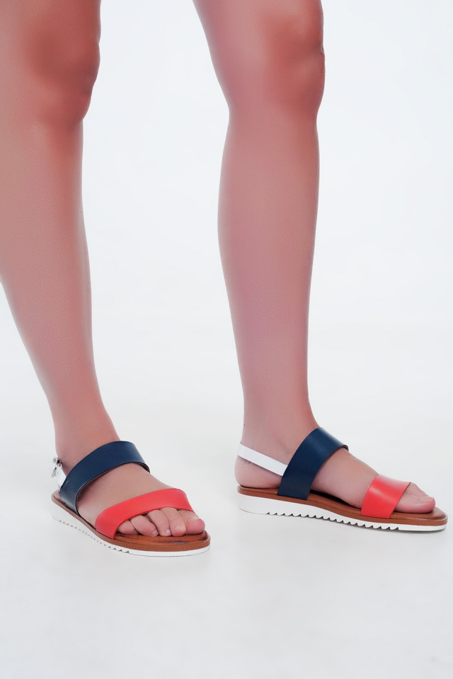 Flume leather flat sandals in red and blue