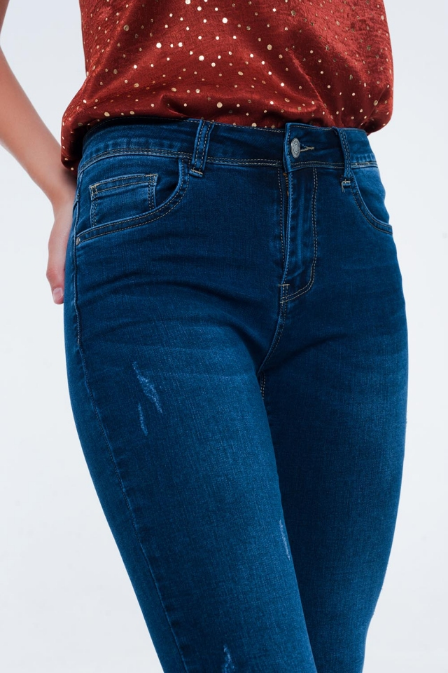 High rise premium jeans in dark wash blue