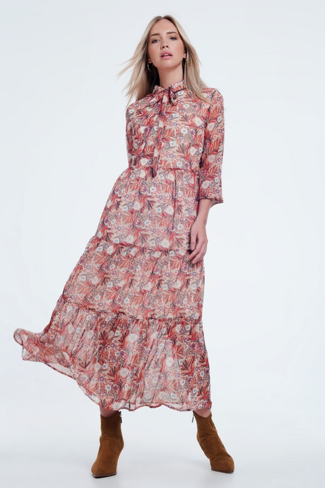 Red floral sheer layered midi shirt dress