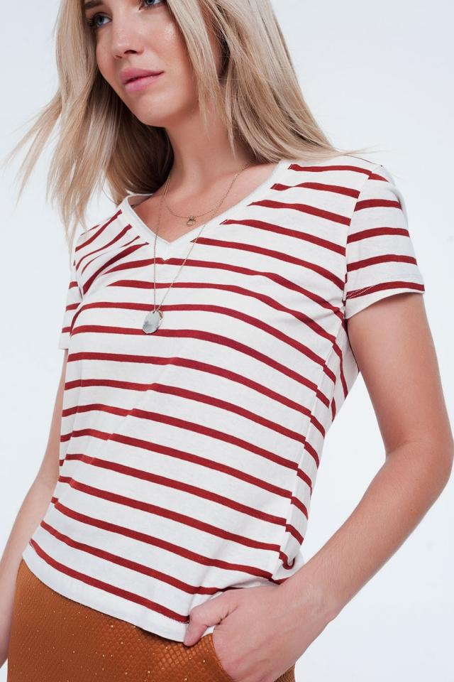 Orange stripe v-neck t-shirt