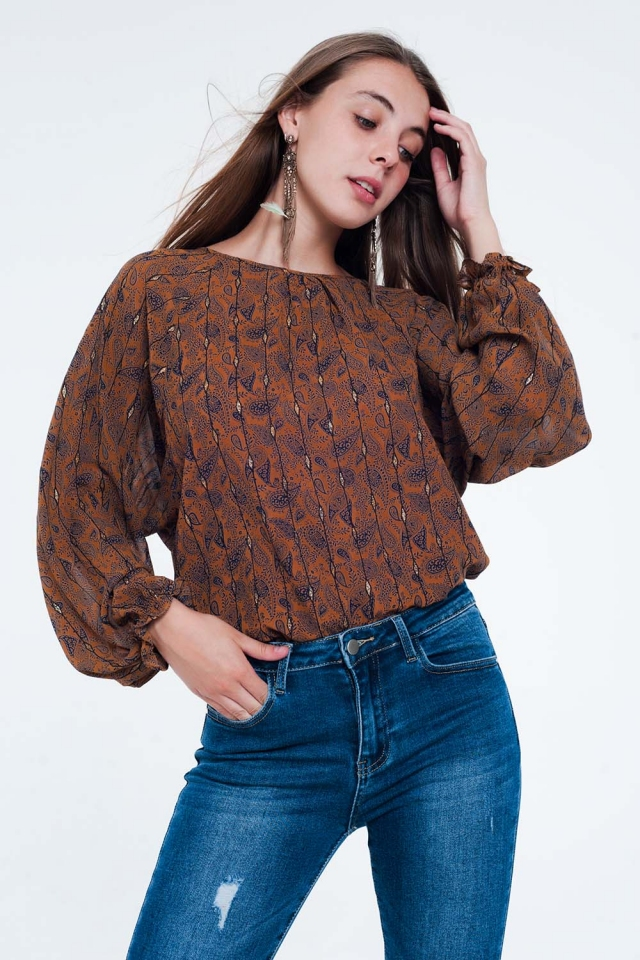 Camel printed long sleeve blouse with frill detail