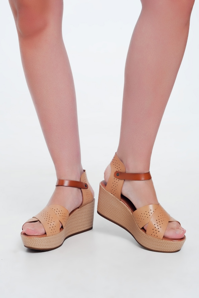 Beige high wedge espadrille Sandal