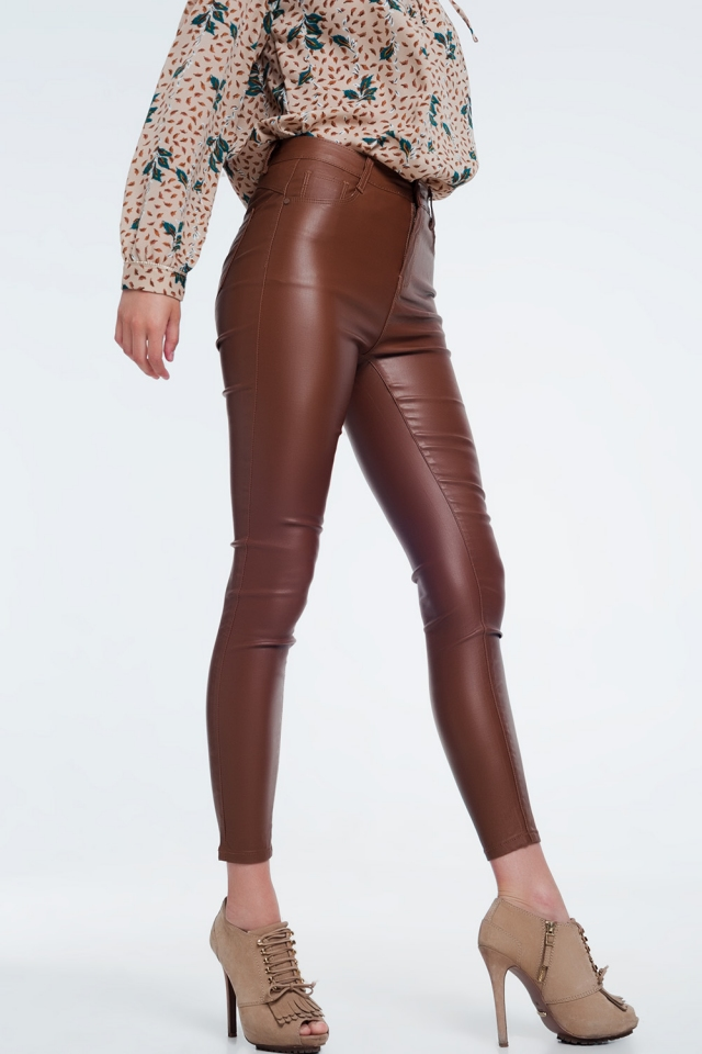High waist brown pants in skinny fit