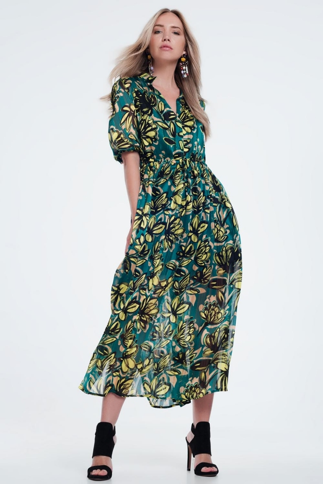 leaf print maxi smock  green dress