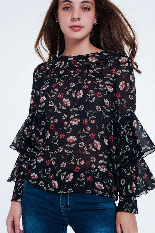 Floral Print Tiered Ruffle long sleeve black Blouse