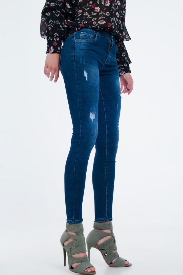 Ripped skinny jeans in blue