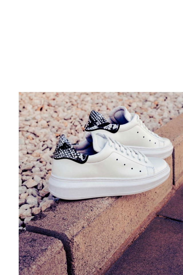 Pointed laceup sneakers in black snake print