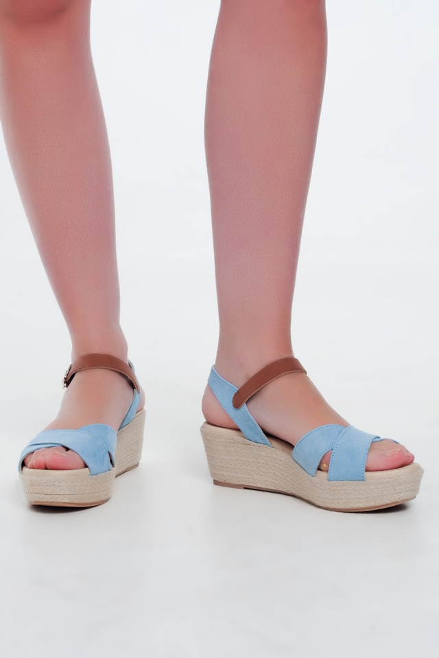 Blue square toe wedge espadrilles