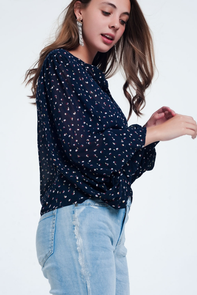 Navy printed sheer shirt