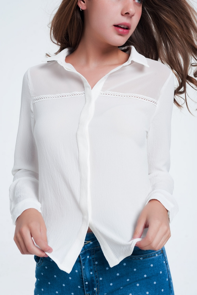 Front detail insert  blouse cream