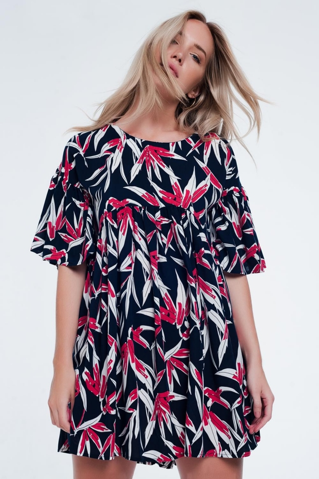 Flower print mini dress in navy