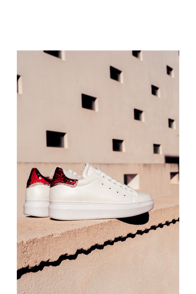 Pointed laceup sneakers in red snake print