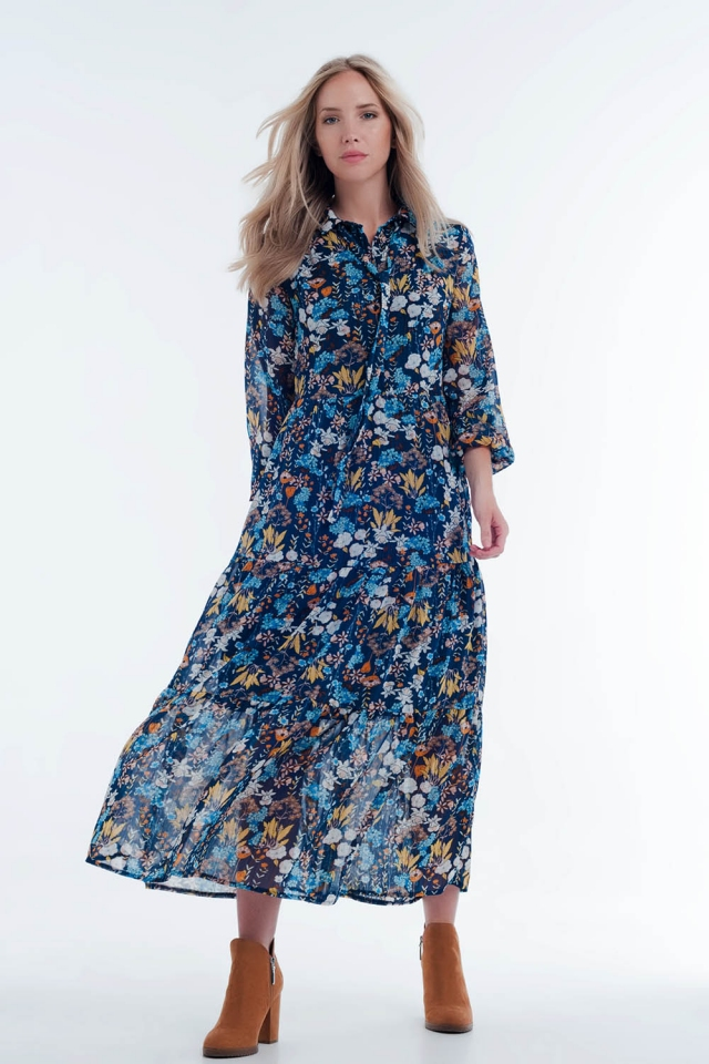 Blue floral sheer layered midi shirt dress